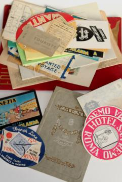 collection vintage travel labels tickets ephemera 1950s transatlantic trip to Europe