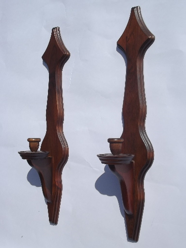 Long Wooden Wall Sconces : Colonial wood wall sconces w/ hurricane candle shades, vintage Kennedy - Vermont