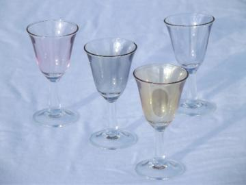 Colored luster tulip shape cordial  glasses, vintage  glass stemware