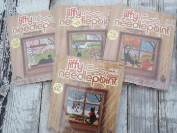 Complete set of Four Seasons Jiffy needlepoint kits, canvas, wool yarn