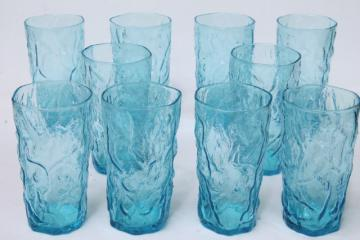 cool aqua blue crinkle glass drinking glasses, Milano or Driftwood bark textured tumblers