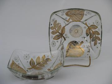 Cora signed gold decorated glass, retro vintage barware dishes, nut bowls