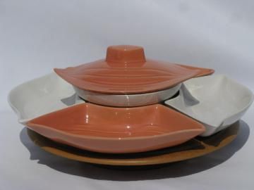 Coral & white ceramic lazy susan relish tray set, vintage California pottery