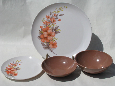 Coral-orange flowers / latte tan, retro vintage Marcrest melmac set for 8