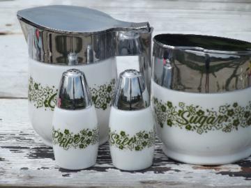 Corelle / Pyrex green spring blossom pattern Gemco cream & sugar, S&P
