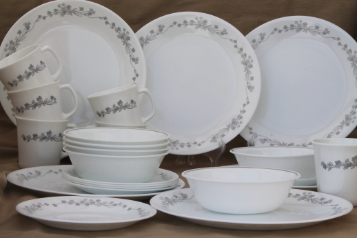 Corelle ribbon bouquet grey & white floral pattern dinnerware dishes ...