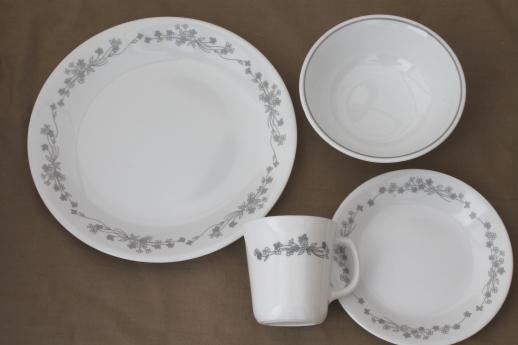 Corelle ribbon bouquet grey \u0026 white floral pattern dinnerware dishes set for 6 & ribbon bouquet grey \u0026 white floral pattern dinnerware dishes set for 6