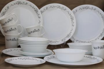 Corelle ribbon bouquet grey & white floral pattern dinnerware dishes set for 6