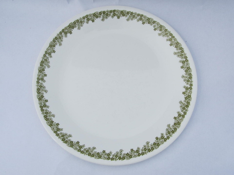 Corelle Spring Blossom glass dishes, retro lime green crazy daisy
