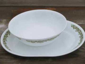 Corelle Spring Blossom glass platter and bowl, retro lime green crazy daisy