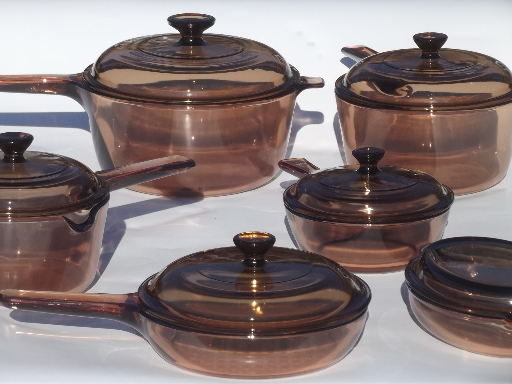 Corning Visions Pots Pans Smoke Brown Kitchen Glass Cookware