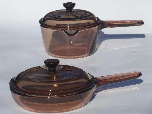 Corning Visions pots & pans, smoke brown kitchen glass cookware collection
