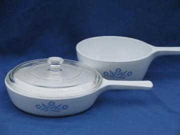 Corningware blue cornflower Corning glass saucepan and small skillet lot