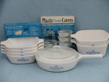 Corningware blue cornflower Corning glass saucepan, individual casseroles lot