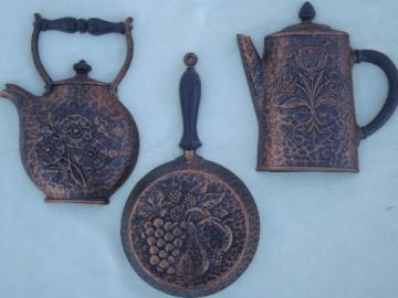 Country kitchen 'copper' wall art, vintage Homco Syroco  plastic wall plaques