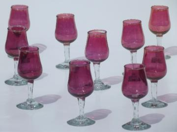 Cranberry stain sherry glasses set, vintage glass goblet cordials