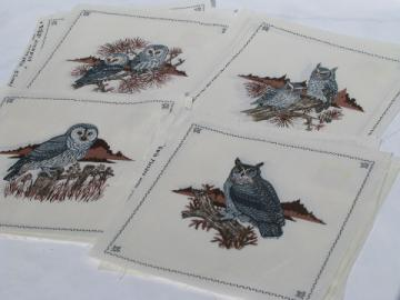 Cranston print works cotton fabric, printed square motifs, all owls!