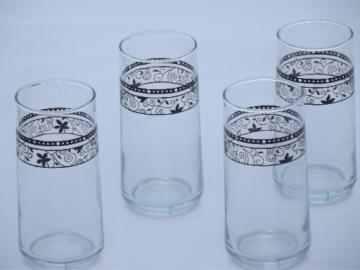 Crisa glass tumblers, vintage Libbey glasses w/ black wrought iron pattern