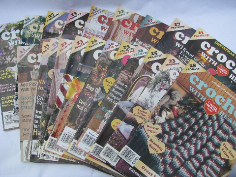 Crochet With Red Heart Yarn Magazines Lot Vintage Patterns Back Issues