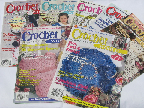 Crochet World magazines, lot vintage back issues, crocheting patterns