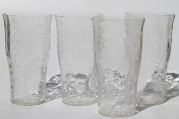 crystal clear crackle glass tumblers, mod vintage drinking glasses set of 4