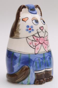 cute retro kitty cat piggy bank, vintage 1980 Enesco Japan ceramic savings bank