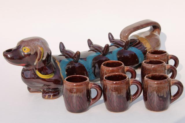dachshund doxie weiner dog, vintage Japan hand painted ceramic shot glasses & decanter