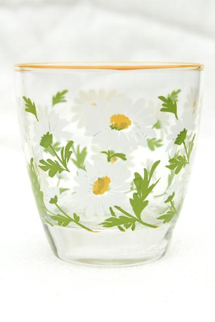 daisy print vintage Libbey glassware, lowball tumblers drinking glasses w/ retro daisies