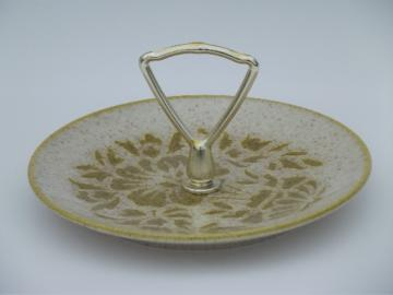 Damask vintage Red Wing pottery lemon server, tiny handled plate