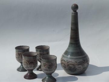 Danish mod 60s pottery decanter carafe and wine glasses, retro drip glaze