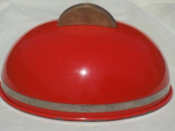 Danish mod vintage dome lid cover for plate or board, retro orange enamel