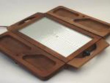 Danish mod vintage wood buffet tray food warmer, Jaxton electric tray