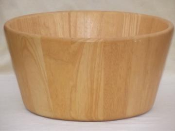 Danish modern staved beechwood bowl, huge wood salad bowl Dansk Malaysia vintage