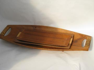 Danish modern style 60s vintage natural wood trays, retro Japan