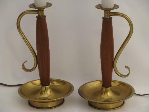 danish modern teak wood candlestick table lamps retro 60s vintage. Black Bedroom Furniture Sets. Home Design Ideas