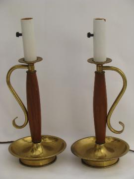 Danish modern teak wood candlestick table lamps, retro 60s vintage
