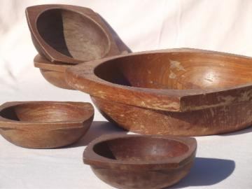 Danish modern teak wood salad set, mod  vintage square wood bowls