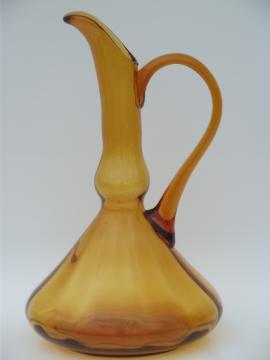 Danish modern vintage 60s amber art glass tall pitcher, Blenko or Italy?