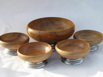 Danish modern vintage 60s retro salad bowls set, blond wood w/ chrome