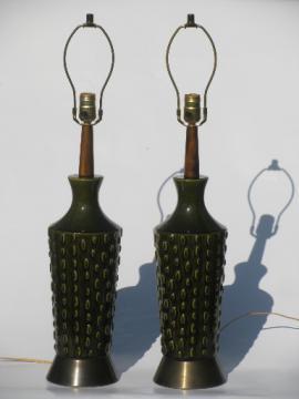 Danish modern vintage art pottery / walnut wood lamps, retro 60s Italy