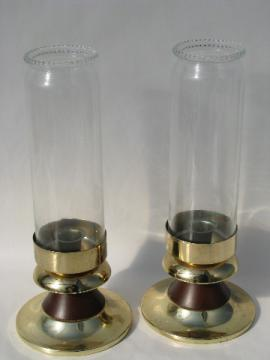 Danish modern vintage candle holders, candlesticks w/ glass chimneys, mod shape