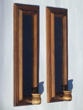 Danish modern vintage candle sconces, retro marbled mirrors in wood frames