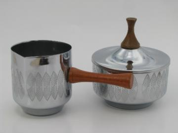 Danish modern vintage chrome cream and sugar, mod leaf pattern, wood handles