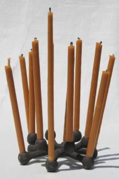 Danish modern vintage Dansk iron candle holder & long tiny taper candles
