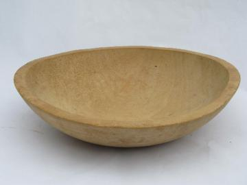 Danish modern vintage natural birch wood salad bowl, large wooden bowl