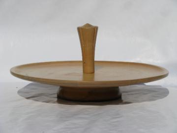 Danish modern vintage solid wood lazy susan tray, mid-century mod