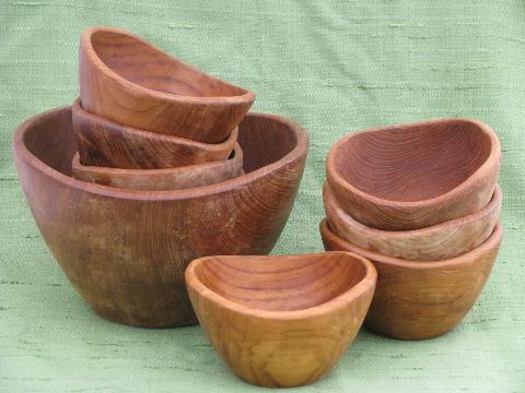 danish modern vintage teak wood salad bowls set mod shape - Wooden Salad Bowl Set