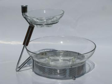 Danish modern vintage two-tier retro glass chip & dip set, deco square