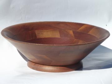 Danish modern vintage Vermillion walnut wood bowl, huge salad / fruit bowl