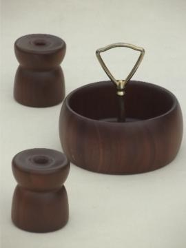 Danish modern vintage walnut wood candle holders & bowl w/ center handle